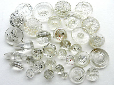 Lot of Vintage Clear Glass Colorless Buttons Many Patterns and Shapes