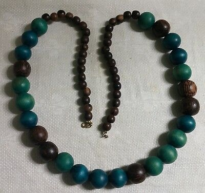 "Vintage Goldtone Metal Brown Green Blue Wood Gumball Bead 33"" Necklace"