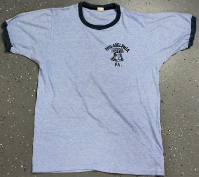 Vintage 70's Philadelphia PA Pennsylvania Rayon Heather Blue Ringer T-Shirt L