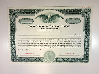 MA. First National Bank of Natick 1940-50s Specimen Stock Cert Odd Shr XF
