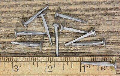 "1"" inch BRAD NAILS 10 lot square cut antique vintage look large round flat head"