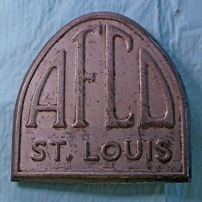 VTG. AFCo. ST. LOUIS EMBLEM METAL PLATE STEAMPUNK FURNACE ~ AIR CONDITIONING