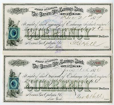 Carson, Nevada. Carson City Savings Bank 1876-77, 2 Issued Original Exchanges