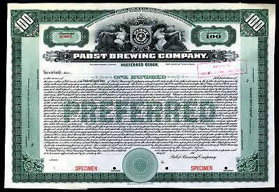 WI. Pabst Brewing Co. 1910-19 Specimen Stock Cert 100 Shrs XF Preferred Brewery