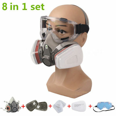 8in1 Mask Goggles Suit For 6200 Gas Spray Painting Respirator Protection Safe