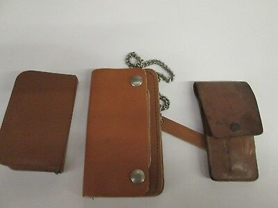 lot of 3 vintage Grooming kit Western Germany chain bill folder wallet leather