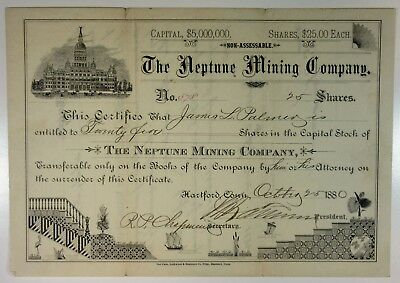 CT. Neptune Mining Co., 1880 I/U Stock Cert 25 Shrs Mines Probably out West