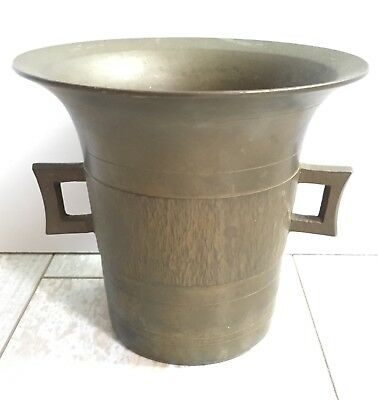 Apothecary Antique Bronze Or Brass Mortar Without Pestle Marked