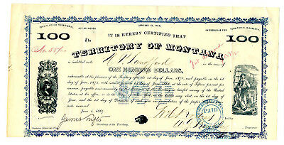 MT. Territory of Montana 1869 I/C $100 15% Bond Signed by Governor James Tufts