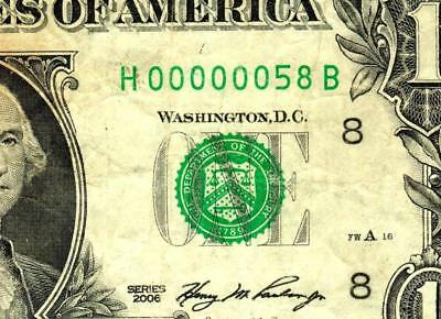 $1 2006:::00000058:::FANCY LOW TWO DIGIT SERIAL NUMBER:::Federal Reserve Note