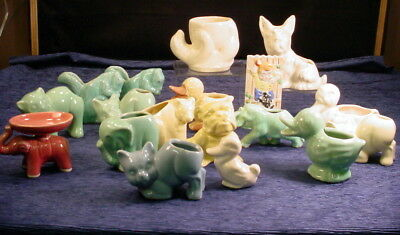Vintage Lot of 17 Small Art Pottery Animal Planters