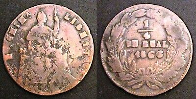 Mexico 1/4 Real 1866 Copper KM# 344