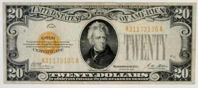 U.S. Gold Certificate $20 Series of 1928 Gold Seal VF to VF+ Woods | Mellon Sigs
