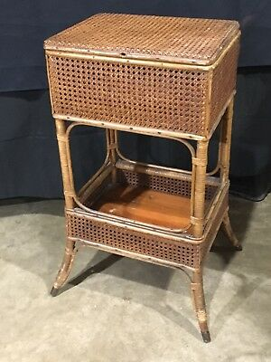 Excellent Antique Heywood Wakefield Cane & Wicker Sewing Basket Stand
