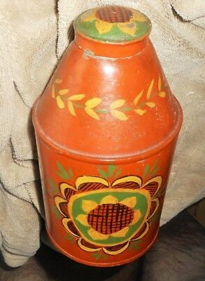 Aafa Antique Tole Painted Tin Tea Canster