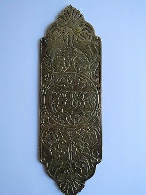 Brass door plate PUSH engraved AAB Co birds floral decorative panel metal