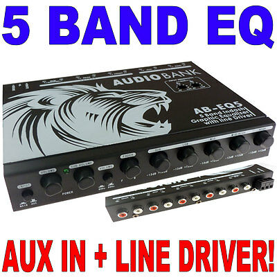 Audiobank 5 Band Parametric Equalizer Eq Car Sub Control Aux Input Indash AB-EQ5