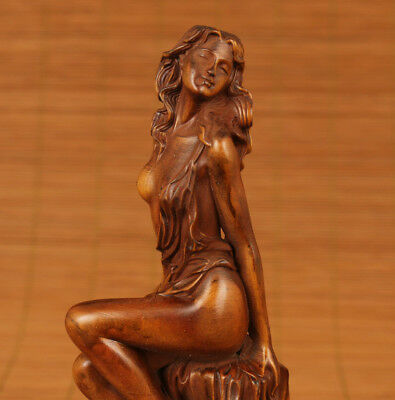 antique Old Boxwood Japanese Netsuke Belle statue Collection home decoration