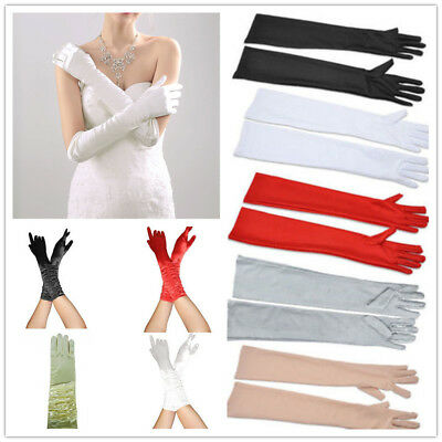 Ladies Women Fancy Long Satin Gloves Opera Party Costume Wedding Bridal Proms