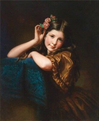 """oil painting 100% handpainted on canvas """"a girl with flowers on her hairs """""""