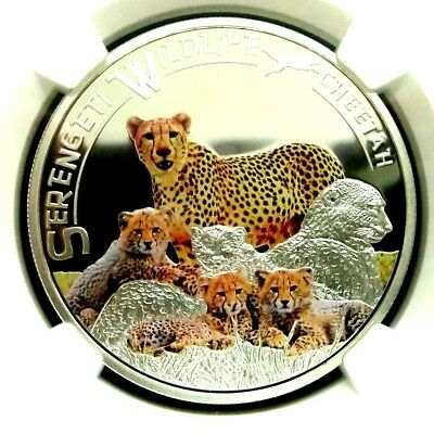 NGC PF70UC-Tanzania 2013 Cheetah Colorized Silver 1000Shillings Perfect PF w/COA