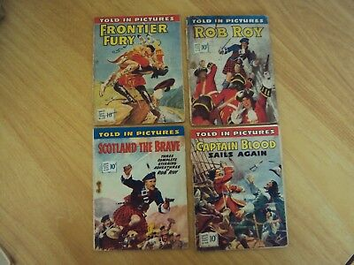 4 Vintage Original 1950's Told In Pictures Comics