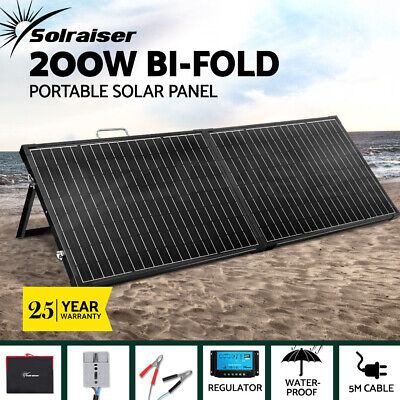 12V 200W Folding Solar Panel Kit Generator Caravan Boat Camping Power Charging