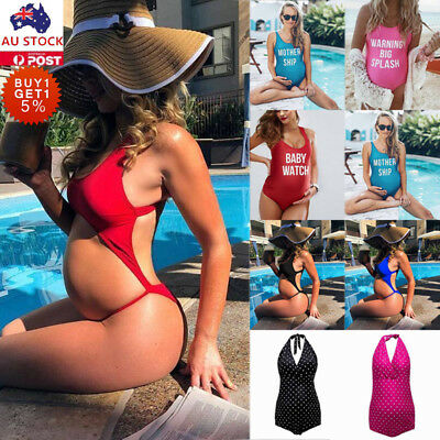 Pregnant Women One Piece Swimsuit Monokini Summer Beach Bathing Swimwear Suit