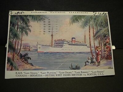 CANADIAN STEAMSHIP RMS LADY NELSON Naval Cover 1935 NASSAU, BAHAMAS postcard