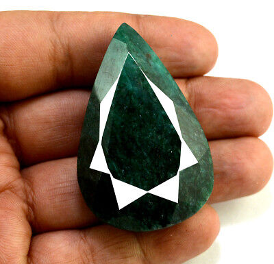 205ct Natural Faceted Pear Shape Dark Green Emerald Loose Gemstone for Pendant