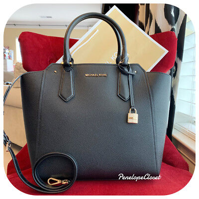 54f17cf7402 Nwt Michael Kors Pebbled Leather Hayes Large North South Tote Bag In Black