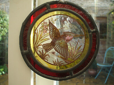 Antique Stain Glass Leaded Panel With Hand-Painted Bird And Foliage
