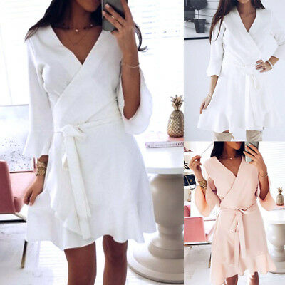 Fashion Women Lady Autumn Long Slevel Dress V Neck Lace Up Party Boho Mini Dress