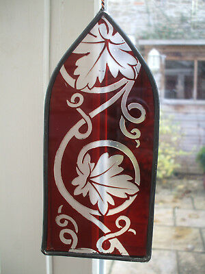 Antique Etched Stain Glass And Leaded Panel From A Church Window  Ecclesiastical