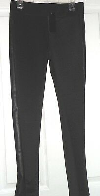 *chancer R. Stretch Pants Size S Black Leather Look Sides Nwt