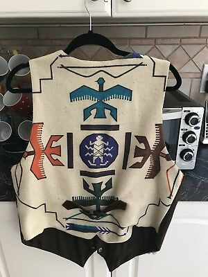 Vintage Indian Tribal Aztec Suede Vest Unisex Medium Large