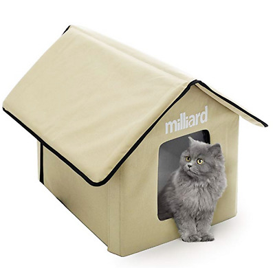 Outdoor Self Heated Cat House Weatherproof Shelter Warm Pet House for Cats