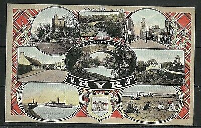 Postcard : Ayr an early multi-view with Coat of Arms