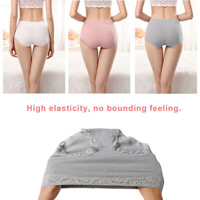 Women Ladies Panties Cotton Lace Edge Soft Briefs Underwear High Waist Lingerie