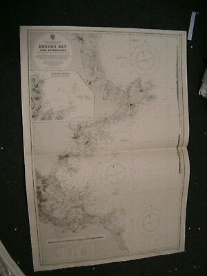 Vintage Admiralty Chart 1227 USA - BOSTON BAY & APPROACHES 1919 edition