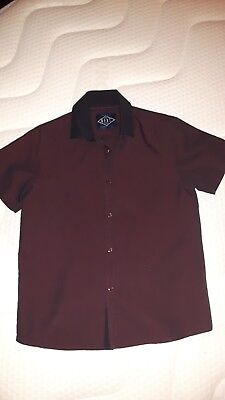 Bnwot Boys Age 8 Short Sleeved Deep Red Shot Black Party Shirt From Next