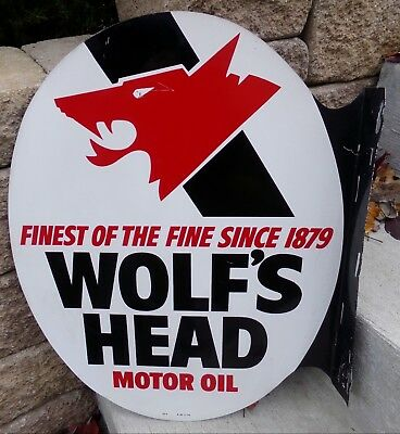 Guaranteed Original Wolf's Head Motor Oil Double Face Flange Gas Station Sign
