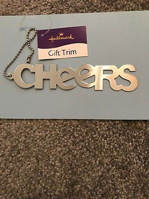 Hallmark Metal Bottle Tag CHEERS. Christmas Champagne Prosecco New