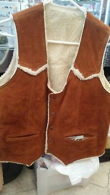 Genuine Leather Suede Shearling Wool Lining By Jo-O-Kay Sz L EUC