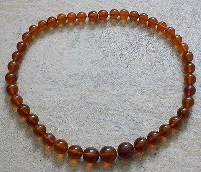 Vintage Amber Round Bead Necklace,RUSSIAN BALTIC AMBER,Total weight 57 gr