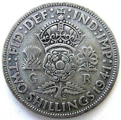 Great Britain Uk Coins, Two Shillings 1941, George Vi, Silver 0.500