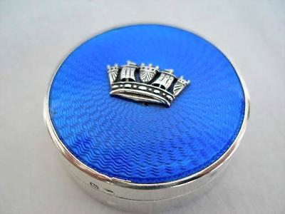 Stunning Guilloche Enamel & Silver Compact By Adie Brothers Ltd Date 1927.