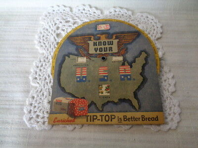 Vintage Know Your States of the USA Tip-Top Bread