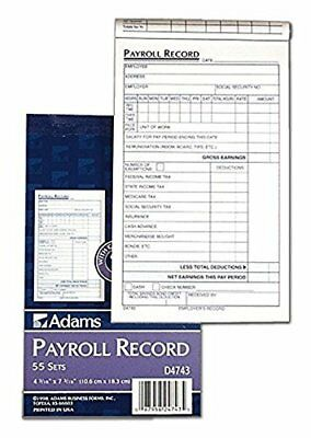 3 Pack Adams Employee Payroll Record Book White and Canary, 2-Part, 55 Sets