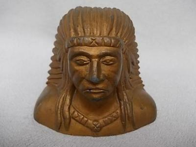 936 / Excellent Antique American Cast Spelter Head Of A Native American Indian